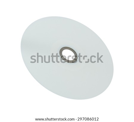 Blank White Printable Surface CD or DVD Compact Disc Isolated on White Background. - stock photo