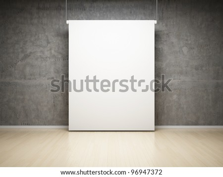 Blank white projection screen in studio on concrete wall - stock photo