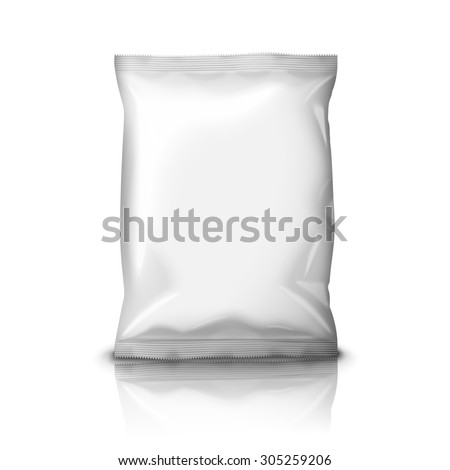 Blank white realistic foil snack pack isolated on white background with reflection and place for your design and branding.