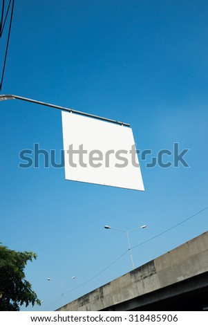Blank White Road Sign Isolated on a sky Background - stock photo