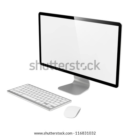 Blank White Screen Computer Monitor with Mouse and Keyboard. - stock photo