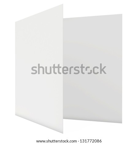blank white sheet paper folded in half - stock photo