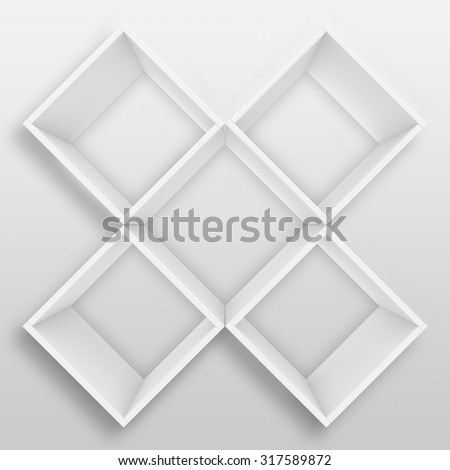 Blank white shelves. 3d render on the background of gray wall. - stock photo