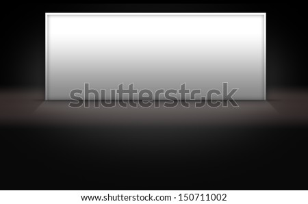 Blank white sign on dark 3d background stage - stock photo