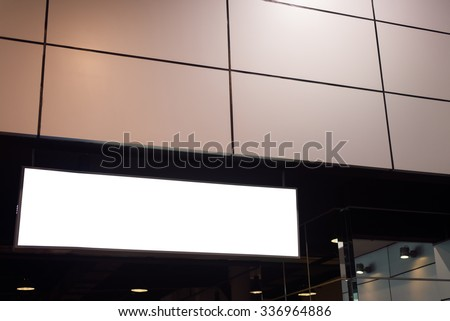Blank white sign with a copy space area hanged from a pole. - stock photo