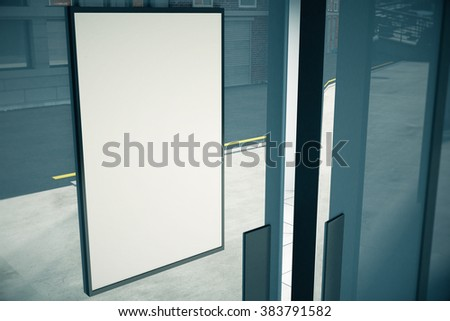 Blank white signboard on glassy wall of building, mock up, 3D render - stock photo