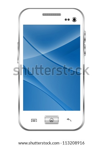 Blank White Smart Phone With Blue and Curve Line in The Screen Isolated on White Background - stock photo