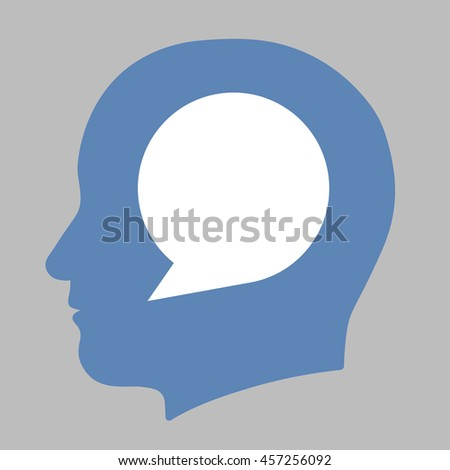 Blank white speech bubble with copy space for your text inside a blue human head silhouette in a conceptual illustration on a grey background - stock photo