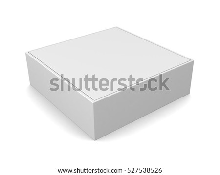 Blank white square box isolated on white background. 3d illustration