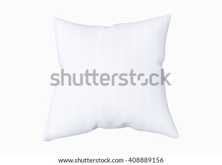 Blank white square pillow, isolated on white background. Mockup for your design. 3D illustration - stock photo