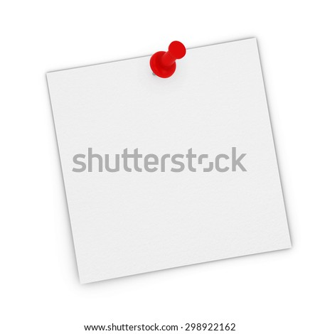 Blank White Sticky Note Pinned to white background - stock photo