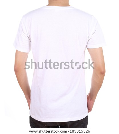 blank white t-shirt on man (back side) isolated on white background