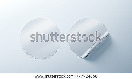 Blank white transparent round adhesive stickers mockup with curved corner 3d rendering empty translucent