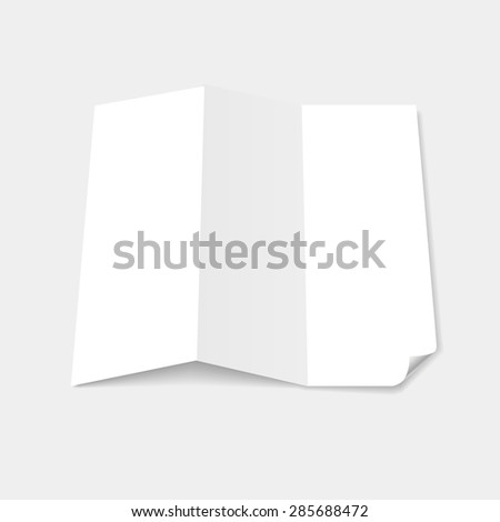 Blank white tri fold brochure template with page curl  - stock photo