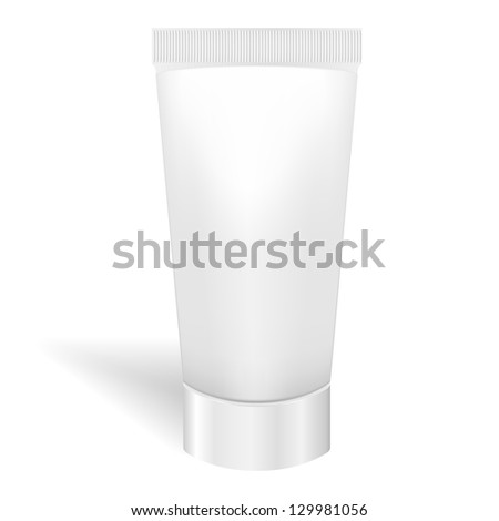 Blank white tube for cream or gel. Packaging for tooth paste, cosmetics, ointment. Product package template. Raster Version - stock photo