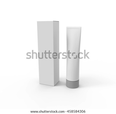 Blank White Tube with Box.Mockup. 3D illustration