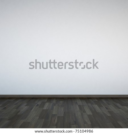 Blank white walls and wooden floor - stock photo