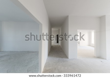 Blank, white walls. New apartment. - stock photo