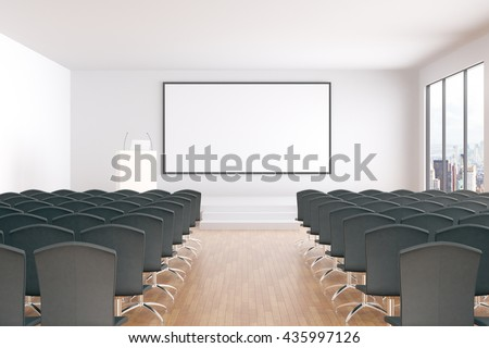 Blank whiteboard in conference hall interior with rows of seats, wooden floor, concrete walls and window with city view. Mock up, 3D Rendering - stock photo