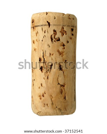 blank wine cork isolated on white background