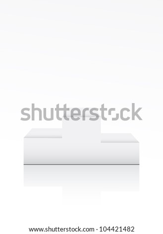 Blank winner podium on white - stock photo