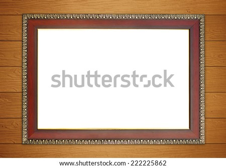 blank wood frame on wall background