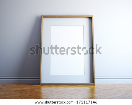 Blank wood picture frame - stock photo