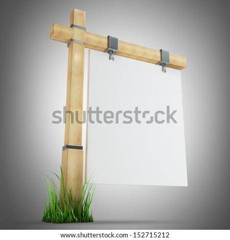 blank wooden advertising billboard. 3d render - stock photo