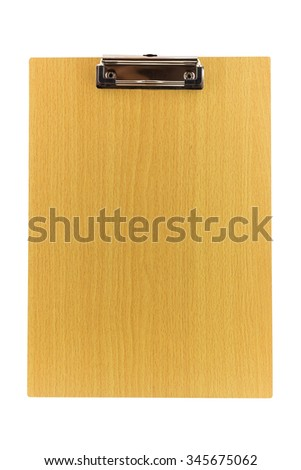 blank wooden clipboard isolated on white background