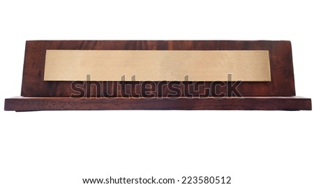 Blank wooden nameplate isolated on white                               - stock photo