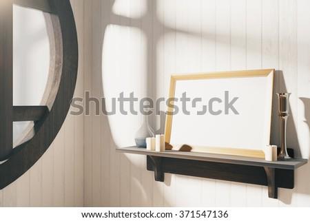 Blank wooden picture frame on brown wooden shelf at sunrise, mock up 3D Render - stock photo