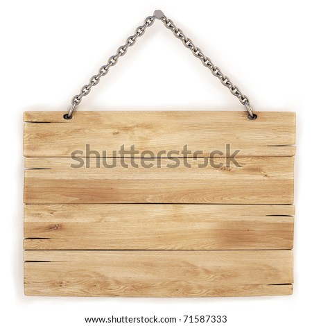 blank wooden sign hanging on a chain. isolated on white. with clipping path.