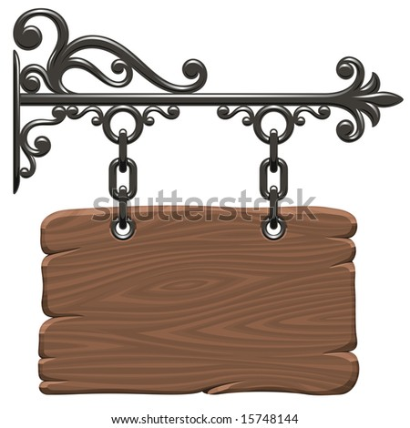 Blank wooden signboard - stock photo