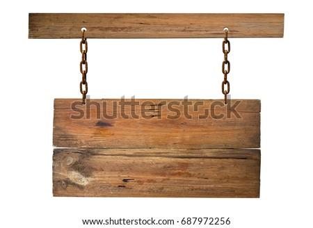 Blank Wooden signboard hanging on white.
