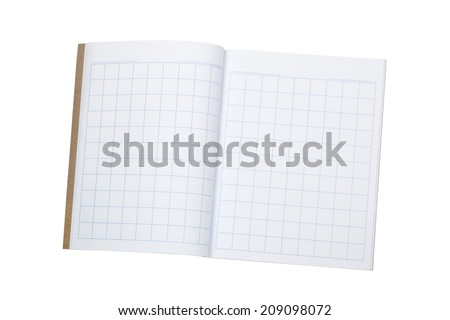 Blank workbook to practice writing chinese characters isolated on white background  - stock photo