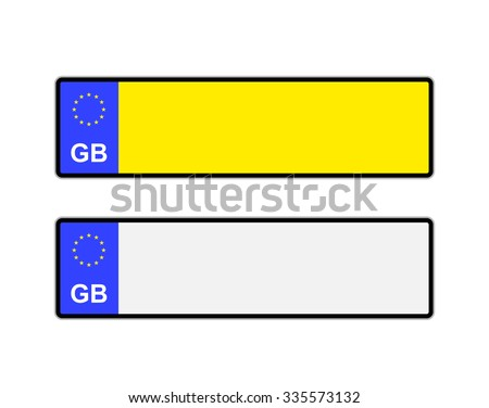 Blank yellow and white UK number plates with EU symbol - stock photo