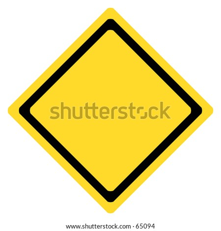 Blank yellow/black traffic sign.   The sign has rounded edges