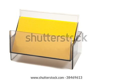 Blank Yellow Business / name cards in a box. empty card for text