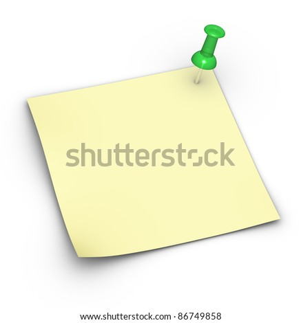 Blank yellow note (Post-It) with a pushpin - stock photo