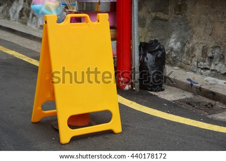 Blank yellow of Folding a signal on the road - stock photo