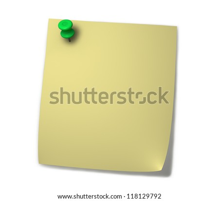 Blank yellow post-it for notes with green drawing pin and shadow isolated on white background. - stock photo
