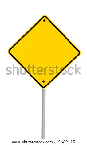 Blank yellow road warning sign (with clipping path). - stock photo