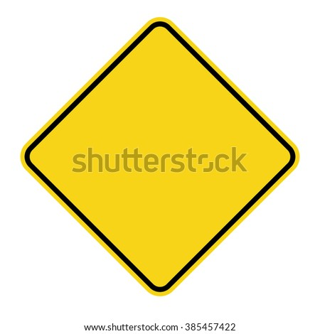 Blank Yellow Sign. Empty square warning symbol isolated on white background. Priority road icon. Traffic sign. Stock Illustration - stock photo
