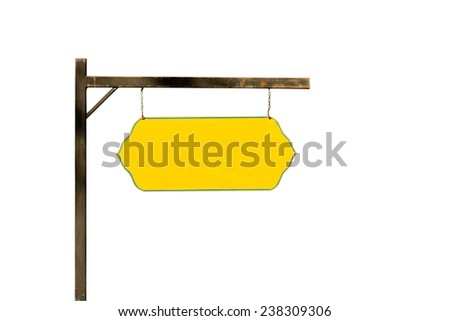 Blank yellow sign, Isolated on white background  . - stock photo