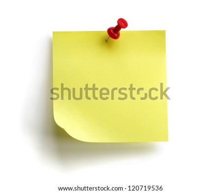 Blank yellow sticky note with red push pin isolated on white background - stock photo