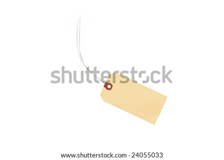 blank yellow tag with wire string isolated against white background