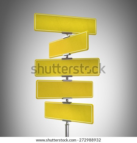 Blank yellow traffic signs High resolution 3d - stock photo