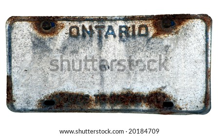 Blanked rusted vehicle license plate - stock photo