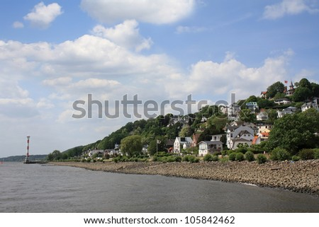 Blankenese - wealthy suburban quarter of Hamburg, located on right bank of the Elbe river. - stock photo
