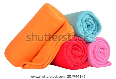 Blankets isolated against white background. - stock photo